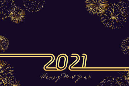 Luxury 2021 Happy New Year line art design - vector illustration of golden 20 21 numbers on dark blue background. Perfect typography for 2021 save the date designs and Christmas celebration Çizim