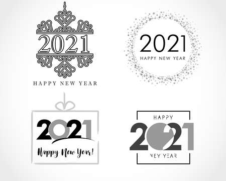 Big collection of 2021 Happy New Year signs. Set of 20 21 New Year symbols. Greeting card artwork, brochure template. Vector illustration with black holiday labels isolated on white background