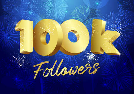 Thank you 100,000 followers creative concept. Bright festive thanks for 100.000 networking likes. 100k subscribes shining golden sign. 3D luxury digits. Abstract isolated graphic design template. Çizim