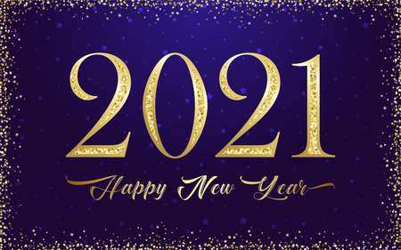 2021 A Happy New Year sign, congrats concept. Golden logotype. Beautiful snowy backdrop. Abstract isolated graphic design template. Decorative numbers. Gold metal digits. Creative christmas decoration