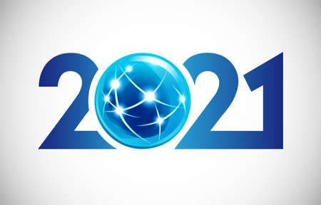 2021 A Happy New Year congrats concept. Modern style logotype. Abstract isolated graphic design template. Blue and white colors. Decorative sphere ball. Shiny digits. Creative Christmas 3D decoration. Çizim