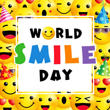 World Smile Day banner, October 2Th. Smile icon in colored text template design. Vector smiling emoticon on yellow background. Emoji joy icons in 3d style illustration Çizim