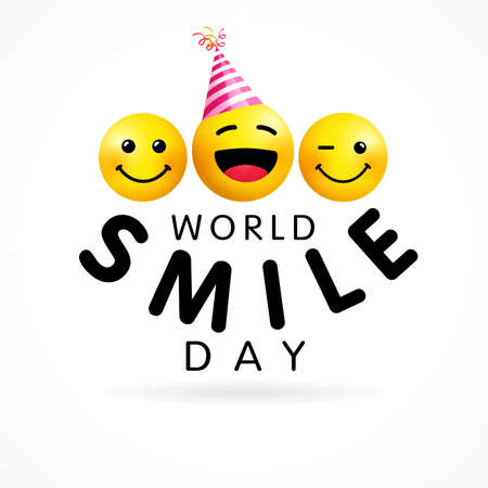 World Smile Day design template, October 2. Happy yellow smiling icons and text, web banner design. Vector emoticon on white background. 3d style emoji joy icons illustration