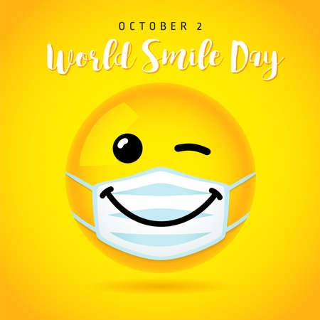 World Smile Day wink banner template, October 2. Happy yellow smiling icon in medical mask and text. Vector emoticon on yellow background design. 3d style emoji joy icons illustration