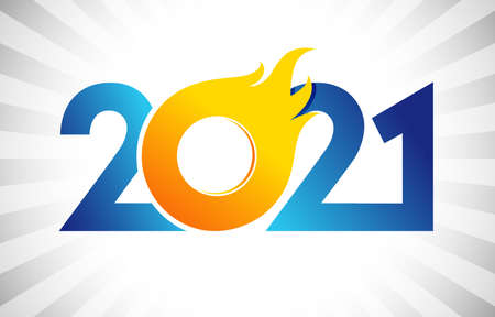 2021 A Happy New Year congrats concept. Fiery logotype. Abstract isolated graphic design template. Decorative numbers. Blue and yellow colors digits. Up to 20% percent off idea. Creative decoration. Ilustracja