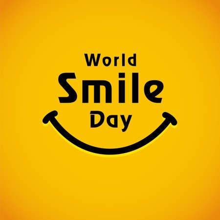 World Smile Day lettering banner template design. Happy smiling icon and text, October 2. Vector emoticon illustration on yellow background Çizim