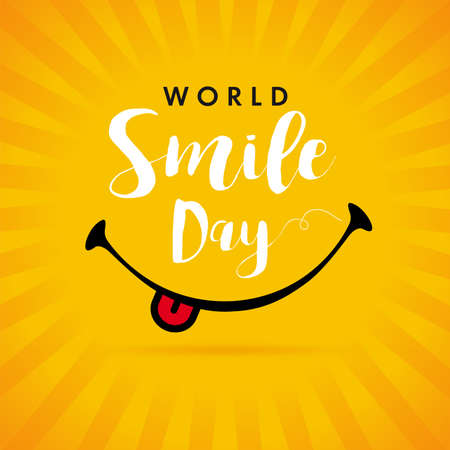 World Smile Day yellow beams banner template design. Happy smiling icon and text, October 2. Vector emoticon illustration