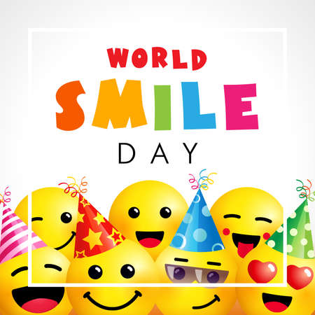 World Smile Day with emoji icons. Happy smiling icon and colored text for smile day, October 2. Vector emoticon illustration