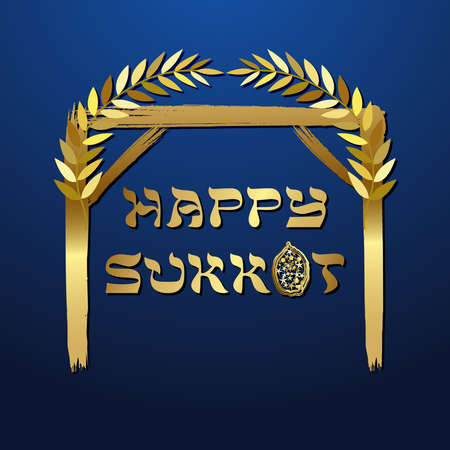 A Happy Sukkot card concept. Creative text. Jewish traditional holiday. Decorative festive sign. Isolated abstract graphic design template. Yiddish calligraphy. Night background. Golden silhouette. Çizim