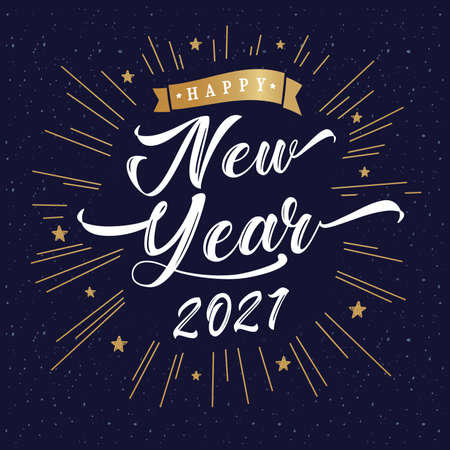 2021 Happy New Year lettering inscription vintage poster. 20 & 21 number and golden beams typography vector Illustration for Christmas banner or greeting card