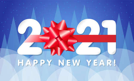 Paper 2021 numbers with red gift bow Happy New Year lettering. 20 & 21 inscription and greeting text, vector Illustration for Christmas banner or greeting card Çizim
