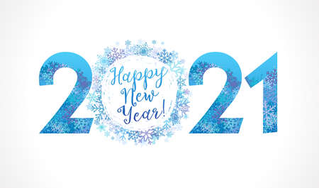 2021 snowflake ball white & Happy New Year lettering. 20 & 21 inscription and greeting text, vector Illustration for Christmas banner or greeting card Çizim