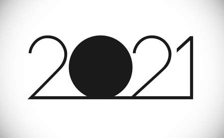 2021 A Happy New Year congrats concept. Classic thin logotype. Abstract isolated graphic design template. Digits in monochrome style. Vector mask idea with black and white colors. Creative decoration.