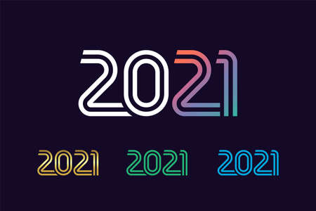 2021 in line art style. 20 & 21 Numbers in minimalism style Merry Christmas and Happy New Year. Isolated graphic web design template. Creative vector concept, colored digits