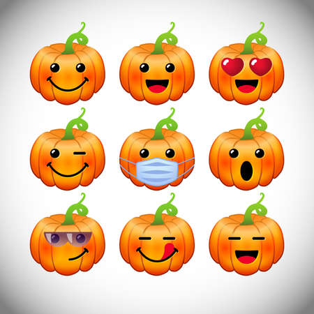 Set of positive pumpkin emoticons. Bright characters, 3D orange and yellow faces. Decorative web icons. Isolated abstract graphic design template. Online emoji collection. Autumn 2020, 2021 congrats.