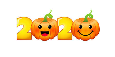 2020 Fall season sign. Holiday numbers. Creative congrats with pumpkins. Bright food characters, 3D orange and yellow faces. Decorative symbol. Isolated abstract graphic design template. Web chat set