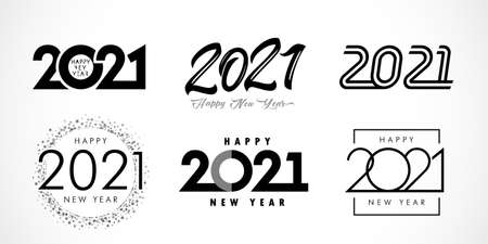 Big Set of 2021 Happy New Year text design. 20 & 21 number design template. Collection of 2021 Xmas symbols. Vector illustration with black labels isolated on white background Çizim