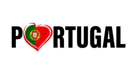 Portugal text tourism with heart flag emblem on white. Love Portugal with heart shape for Portuguese Republican victory isolated on white background. Vector illustration