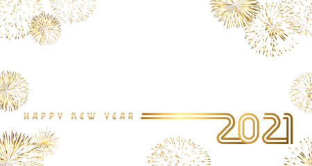 Happy New Year 2021 golden salute design. 20 & 21 number and firework, Christmas banner. Vector illustration with gold typography isolated on white background