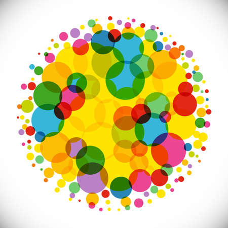 Bright colorful background. Isolated abstract graphic design template. Colored ball. Trendy decoration with transparent effects. Yellow, red, green colors. Holiday creative circle. Decorative element.