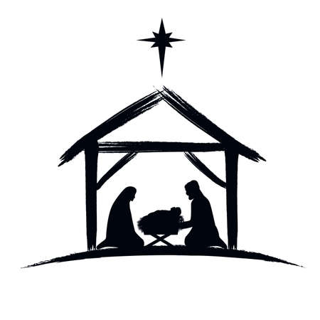Nativity scene silhouette banner design with manger cradle for baby Jesus, holiday Holly Night. Vector illustration for Christmas cut file scrapbook Vecteurs