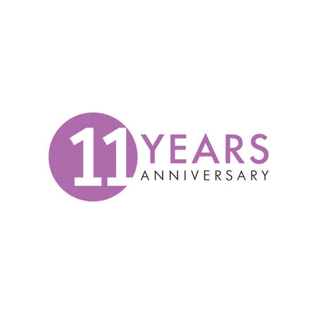 11 th anniversary numbers. 11 years old creative congrats. Cute congratulation concept. Isolated abstract graphic design template. Purple digits. Up to 11%, -11% percent off discount. Decorative sign. Çizim
