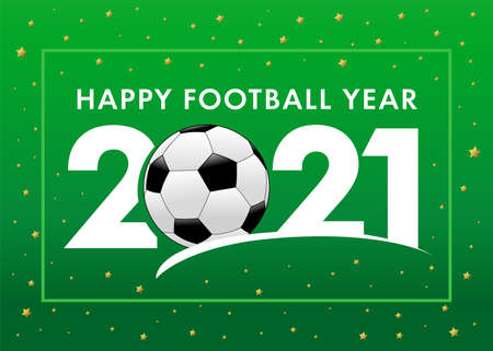 Happy Football Year 2021 with text and soccer ball on green background. Merry Christmas vector illustration with 2, ball & 21 numbers, invitation card for winter football tournament Çizim
