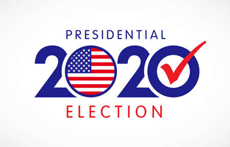 2020 United States of America Presidential Election banner. Vote 2020 banner with flag USA. Election day vector illustration Çizim