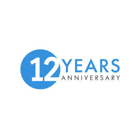 12 th anniversary numbers. 12 years old creative congrats. Cute congratulation concept. Isolated abstract graphic design template. Blue digits. Up to 12%, -12% percent off discount. Decorative sign.