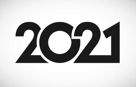 2021 Merry Christmas and Happy New Year calendar logo. Numbers in minimalism style. Abstract isolated graphic web design. Creative vector mask concept, black digits, white background
