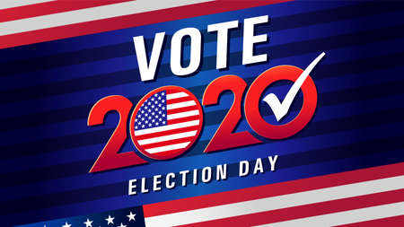 Vote 2020 in USA, blue stripes banner with flag. American patriotic background for election day. Usa debate of president voting. Election voting poster vector template