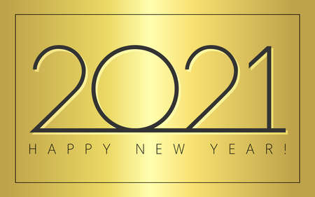 2021 A Happy New Year congrats concept. Classic simple style logotype. Abstract isolated graphic design template. Digits with golden background. Vector mask idea with two colors. Creative decoration.