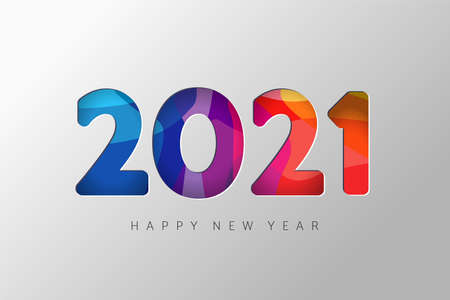 2021 New Year banner. Paper cut numbers with 3d bright colors wavy shapes. Minimal cover design. Template for Christmas flyers, greeting cards, brochures. Vector Xmas illustration