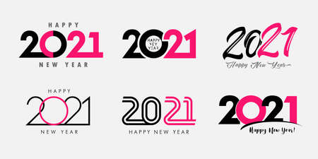 Big Set of 2021 Happy New Year text design. 20 21 Xmas number design template. Collection of 2021 Christmas typography symbols. Vector illustration with black and pink labels isolated on white Vettoriali