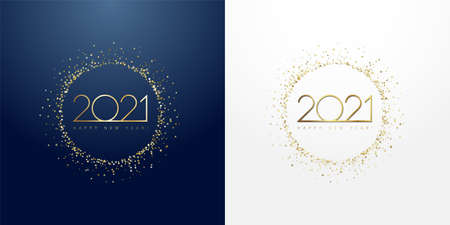 2021 in golden sparkling ring with dust glitter graphic on dark blue and white background. Happy New Year decorative glowing shiny design for award celebration Çizim