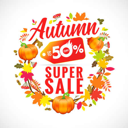 Autumn super sale with wreath pumpkin and leaf. Discount label hot sale in maple and oak foliage. Fall sale vector template banner up to 50% offer Çizim