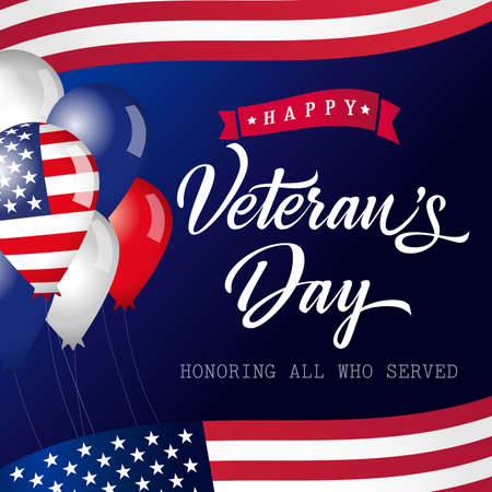 Happy Veterans Day USA lettering banner. Honoring all who served calligraphic card. Thank you US veterans congrats with balloons and flags. Isolated abstract graphic design template