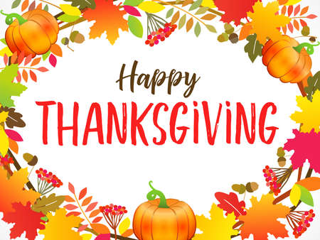 """Happy Thanksgiving typography poster with wreath maple, berries leaves and pumpkin. Hand drawn quote """"Happy Thanksgiving"""" for autumn postcard, sale banner or badge. Vector calligraphy lettering"""