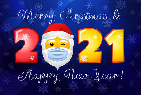2021 Merry Christmas and A Happy New Year holiday card. Winter backdrop, lock down symbol, yellow face. Decorative icon. Isolated abstract graphic design template. Web emoji. Season creative congrats.