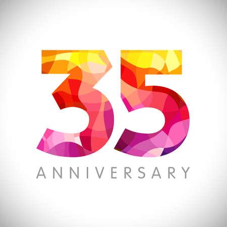 35 th anniversary numbers. 35 years old logotype. Bright congrats. Isolated abstract graphic web design template. Creative 3, 5 3D digits. Up to 35% percent off discount idea. Congratulation concept.