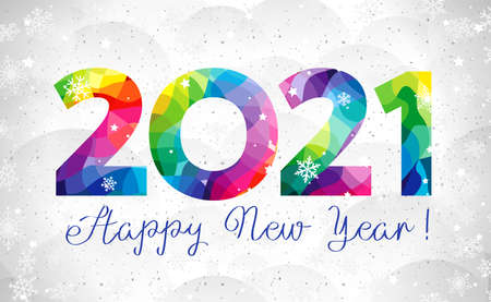 2021 A Happy New Year congrats concept. Stained glass logotype. Beautiful snowy backdrop. Abstract isolated graphic design template. Decorative numbers. Colored digits. Creative colorful decoration