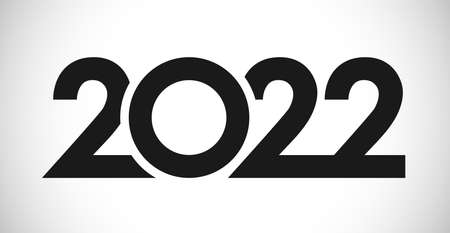 2022 A Happy New Year congrats concept. Classic logotype. Abstract isolated graphic design template. Digits in monochrome style. Vector mask idea with black and white colors. Creative decoration.