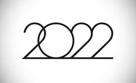2022 A Happy New Year congrats concept. Classic thin logotype. Abstract isolated graphic design template. Digits in monochrome style. Vector mask idea with black and white colors. Creative decoration.