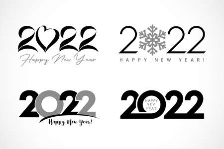 Big Set of 2022 text design with heart, snow, simple. Collection of Happy New Year label and happy holidays template greeting card. Vector illustration isolated on white background