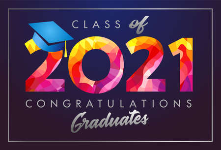 Class of 2021 year graduation banner, awards concept. T-shirt idea, holiday red colored invitation card, calligraphy. Isolated digits, abstract graphic design template. Brush strokes, dark background
