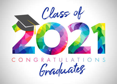 Class of 2021 year graduation banner, awards concept. Class off holiday color invitation card. 3D digits 20, 21. Isolated abstract graphic design template. Brush stroke calligraphy. White background.