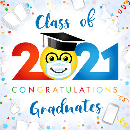 Class of 2021 year graduating banner, awards concept. Creative funny sign, happy holiday cute colorful invitation poster. Isolated abstract graphic design template. Red, blue colors, white backdrop