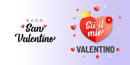 Buon San Valentino, Sii il mio San Valentino Italian lettering - Happy Valentines Day, Be my Valentine. Valentine holiday calligraphy with red heart, romantic elegant vector banner for Italy Ilustracje wektorowe