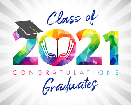 Class of 2021 year graduation banner. Class off holiday color invitation card. 3D digits 20, 21 with open book. Isolated abstract graphic design template. Brush stroke calligraphy. White background.