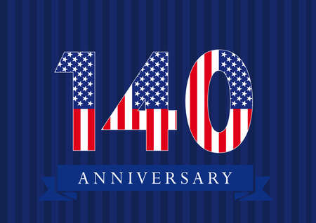 Anniversary 140 US flag logotype. Template of celebrating 140 th. Isolated numbers in traditional style on striped abstract blue background. United States greetings or sticker, ten, one, 0 or letter O